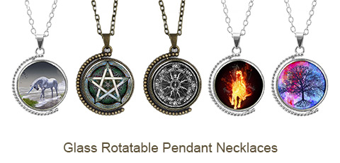 Double-sided Picture Glass Rotatable Pendant Necklaces