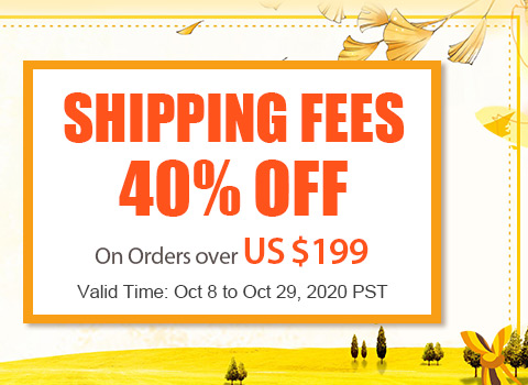 Shipping Fees 40% OFF On Orders over US $199