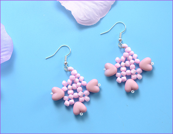 Valentine's Seed beads Pink Earrings