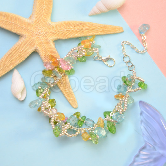 Chip Gemstones bracelt with Silver Seed Beads