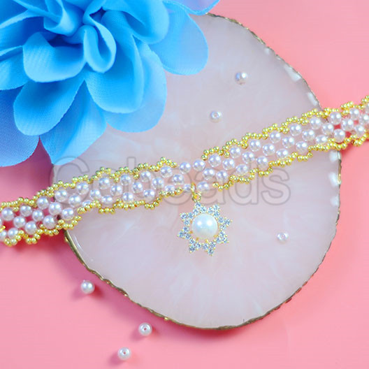 DIY Mother's Day Bracelet with Pearl Beads & Cubic Zircon Pendants