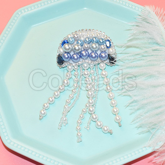 Embroid Jellyfish Shaped Brooch with Pearl