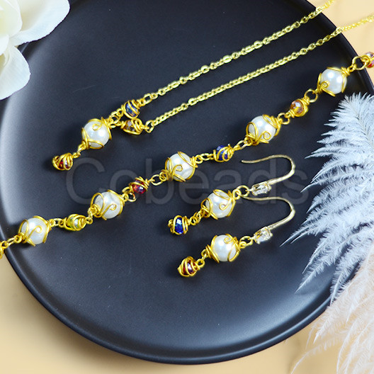 Pearl Crystal Jewelry Set with Gold Wire
