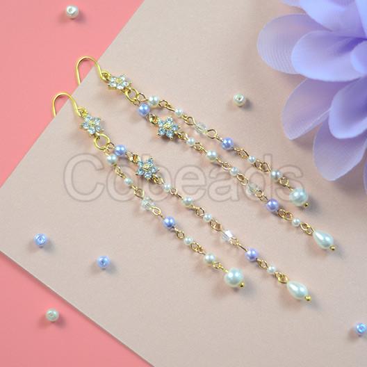 Rhinestone Flower Dangle Earrings