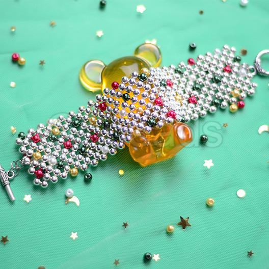 Sparkling Christmas Wide Beaded Bracelet