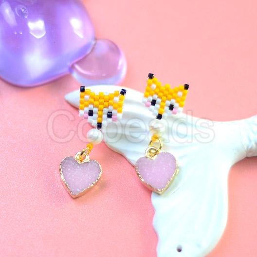 Cute Fox Seed beads Earrings with Druzy Resin Pendants