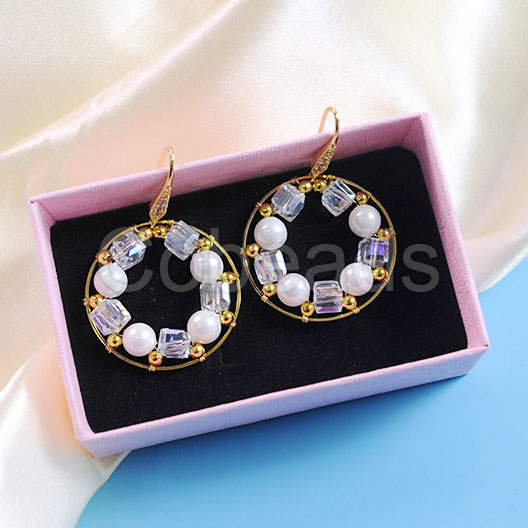 Wrapped Hoop Earrings with Glass Beads and Pearl Beads
