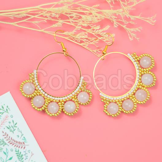 Charming Jade Hoop Earrings with Seed Beads