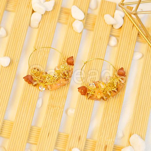 Elegant Hoop Earrings with Bead Cap & Cone