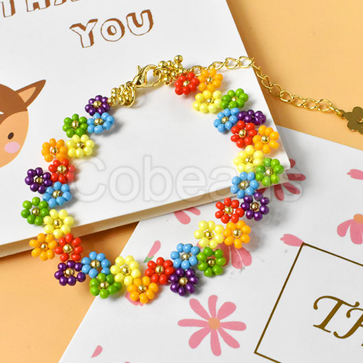 Pretty Bracelet Made by Colorful Flower Shaped Seed Beads