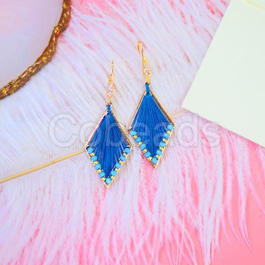 Lovely & Fashionable Diamond Shaped Earrings with Blue Thread & Earring Hook