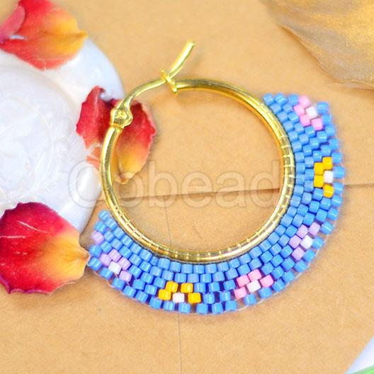 Colorful Beaded Earrings With Big Hoop