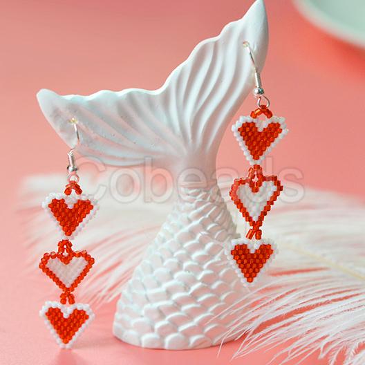 DIY Dangle Heart Earrings With Seed Beads